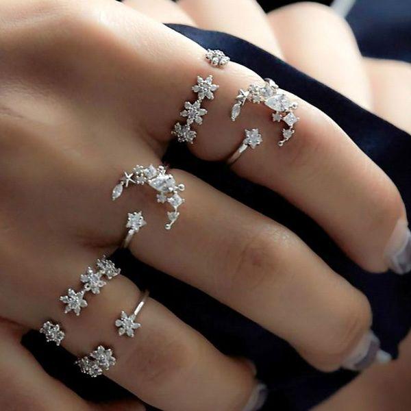 Vintage Silver New Women Rings Set 5pcs/Set Retro Wedding Ring Crystal Bohemia Gem Lined Rings Crystal Ring Flower Star Moon
