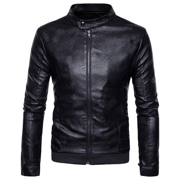 2019 Mens Leather Jacket Motorcycle Jacket Young Men Slim Fit Zipper  Blazers For Boys Fashion Style Brown Or Black From Aaronliu880, $36.55