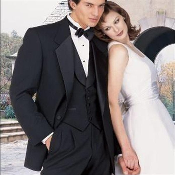 Custom made man`s suits three pieces Notch Lapel Groom Tuxedos evening Wedding Slim Fit best man Suits ( coat +vest+pants+Bow)