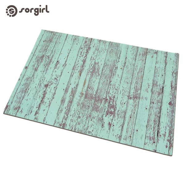 Acheter Paillasson Retro De Grain De Bois Artificiel Bleu Tapis De