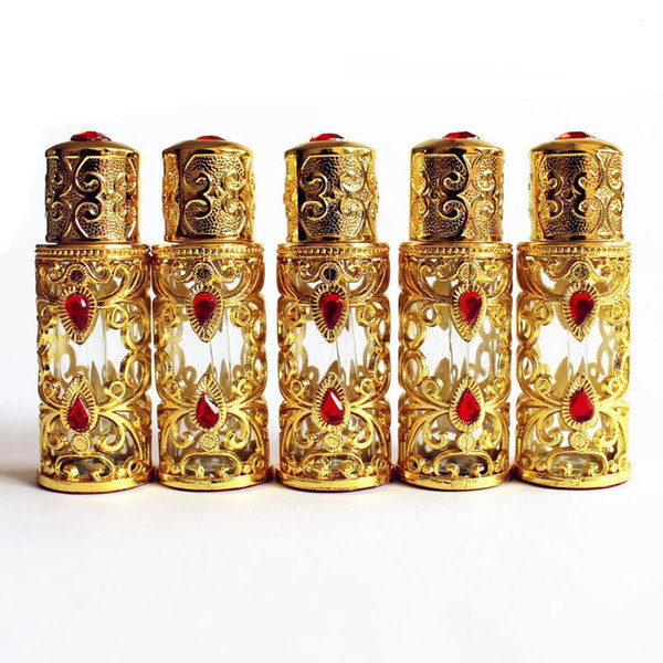 3 ml Antiqued Metal Perfume Bottle Arab Style Botella de Aceites Esenciales Aleación Cuentagotas Botella de Cristal Decoración de La Boda regalo Oro