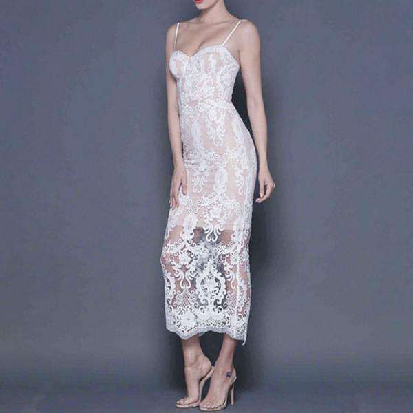 Mais novo das Mulheres de Renda Branca Bandage Vestidos Evening Party Club Bodycon Vestidos Impresso Strap Oco Out Vestidos de Verão Vestido