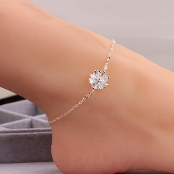 Luxury 925 Silver Chain Anklet Daisy Flower Ankle Bracelets 25.5cm Chain Foot Jewelry for Women