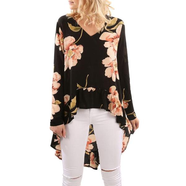 Floral Print High Low Hem High Low Blouse Shirt Women Clothing Butterfly Sleeve Asymmetrical Chiffon Loose Tops Blusas P45X