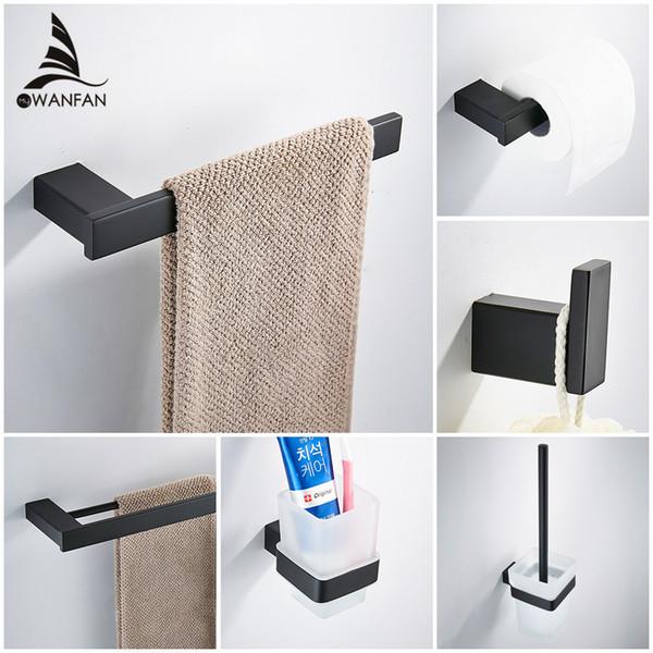 Fosco preto Aço Inoxidável 304 Toalha Robe Gancho Toalete Do Toalete Titular Bar Acessórios Do Banheiro Definir Papel Titular 610000R