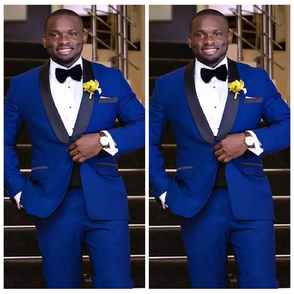 2019 High Quality Royal Blue Groom Tuxedos Groomsmen Shawl Lapel Best Man Blazer Mens Wedding Business Suits Custom (Jacket+Pants)