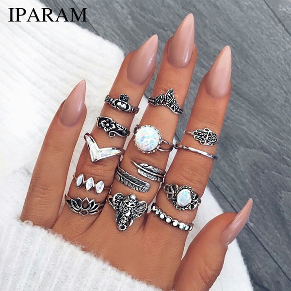 13PCS/set Vintage Rings Set Mixed Flower Crown Elephant Big Crystal Opal Midi Knuckle Ring Antique Silver Color Anillos Jewelry