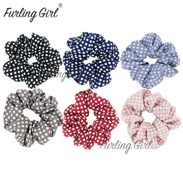 Furling Girl 1PC Polka Dots Design Tela de gasa Hair Scrunchy Ponytail Holder Lazos para el cabello Gum Bands