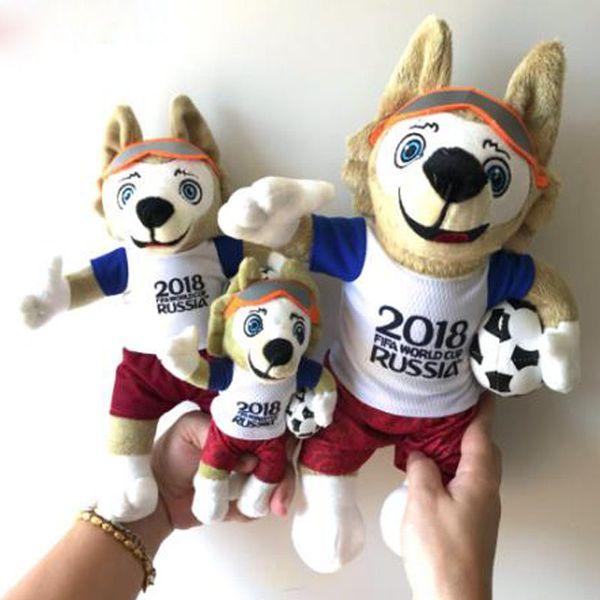 Grosshandel 2018 Kinder Russische Maskottchen Plusch Coyote Zabikaka Gefullte Puppe Fussball Souvenir Geschenk Kinder Spielzeug Plusch Puppe Kissen