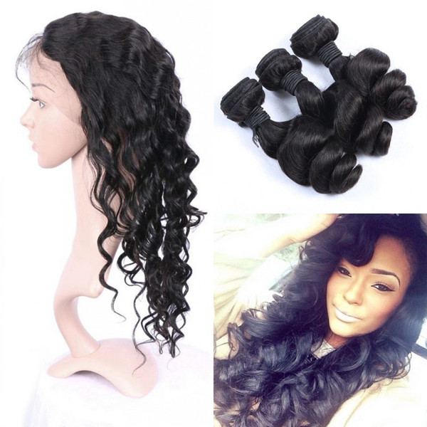 Indian Loose Wave 3 Bundles With 360 Frontal Lace Closure Middle Part Virgin Wavy Human Hair Weaves Closure