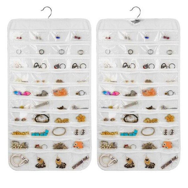 80 grid non-woven Hanging Storage Bag Jewelry Necklace Ring Earring Pouch Organizer Bag Jewelry Transparent Display Bags