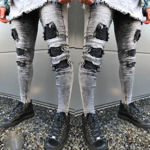 Nuovi 2018 Fashion Men Stretchy Strappato Skinny Biker Jeans Destroyed Tapered Slim Fit Hole Patch Denim Pants