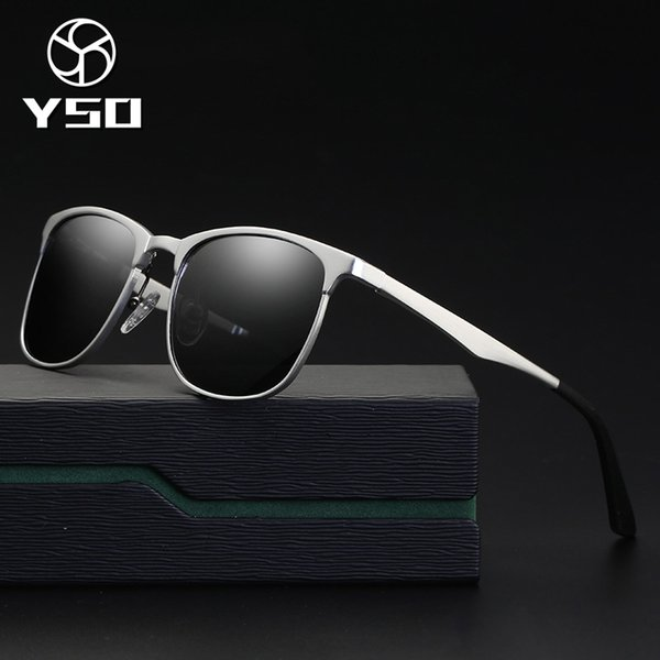 YSO Sunglasses Men Polarized UV400 Aluminium Magnesium Frame TAC Lens Sun Glasses Driving Glasses Square Accessory For Men 8651