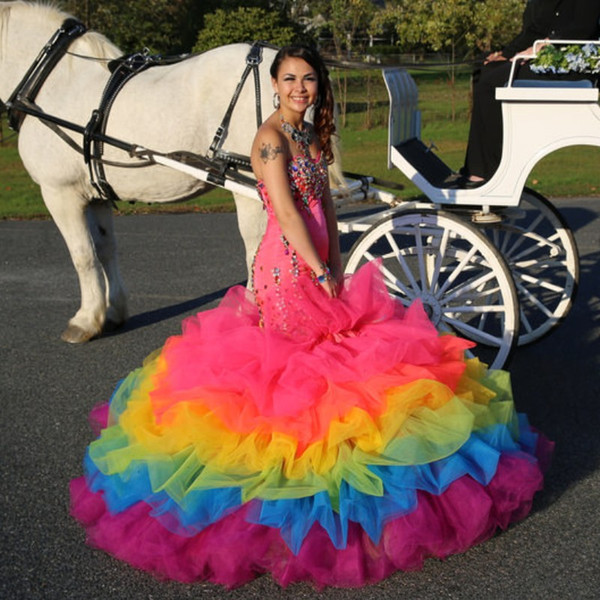 Rainbow Colorful Mermaid Prom Dress Crystal Beaded Sweetheart Sleeveless Celebrity Party Dresses Fashion Arrival Tiered Tulle Evening Dress