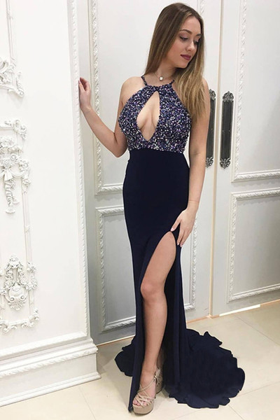 Chic Navy Blue Mermaid Keyhole Neck Top Beaded Prom Dresses Beautiful Side Split Sweep Train Summer Evening Dresses Party Gowns For Women