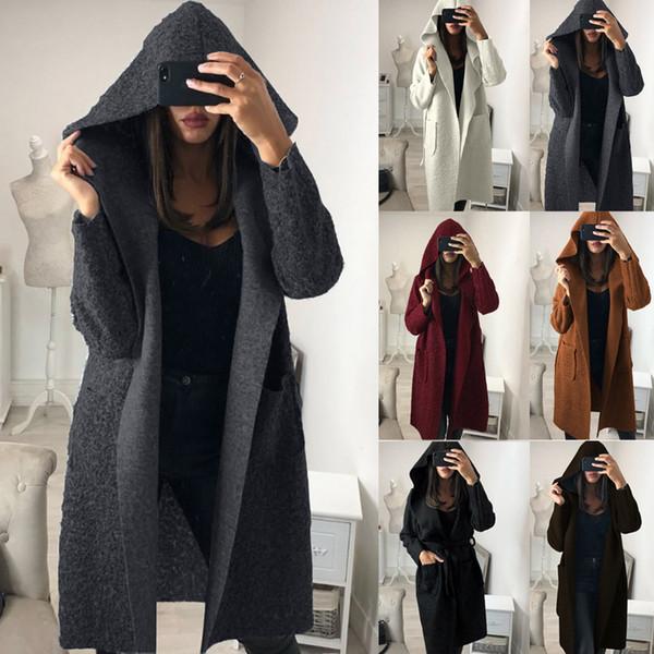 2018 ladies fashion new Women Plain Fluffy Hooded Long Cardigan Coat Winter Belt Trench Jacket fashion loose simple coat