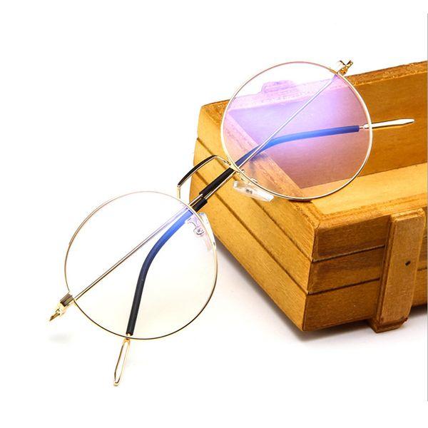 2018 ultra-fine metal fashion glasses frame harajuku art glasses frame men's tee round flat mirror wholesale