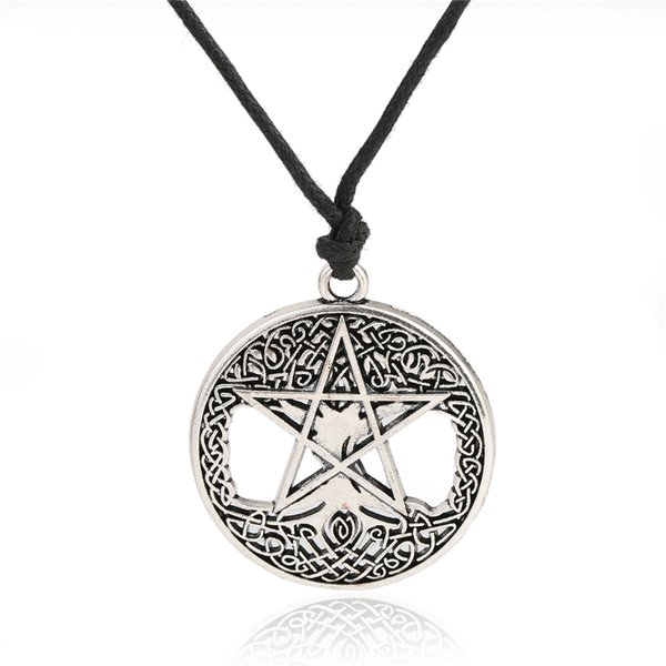 Fishhook pentacle tree of life necklace wicca jewelry long necklace with big pendant necklaces for men silver&gold color