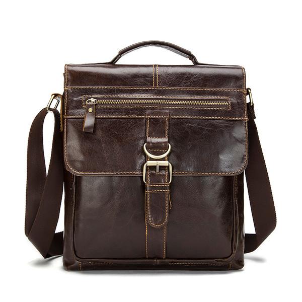 2018 New Vintage Cow Leather Bags For Men Genuine Leather Messenger Bag Men's Bag Shoulder Bags iPad handbag black/brown