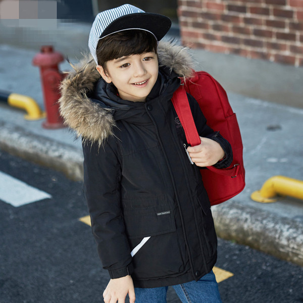 -35 Degree Boys Winter Jacket White Duck Down Parkas Tops for Boy Thicken Warm Real Fur Hooded Boys Winter Clothing Kids