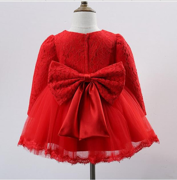 2016 Winter Red long-sleeved baby girls dress 1 year old birthday dresses Cotton warm wedding dress + Big bow free shipping