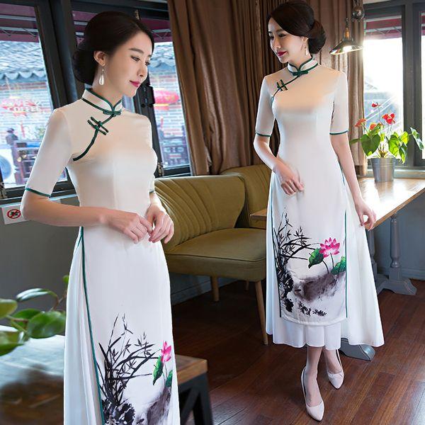 Chinesische Art-lange Frauen Cheongsam-Eleganz-weibliches chinesisches traditionelles Kleid altes Weinlese-Qipao-Hochzeits-Kleid 89