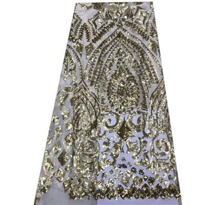 Yüksek Kaliteli Sparkly Embrodiery Örgü Dantel Pullu Kumaş Altın Gümüş Pullu Kumaş Için Giysi / Olaylar Noel Dekorasyon