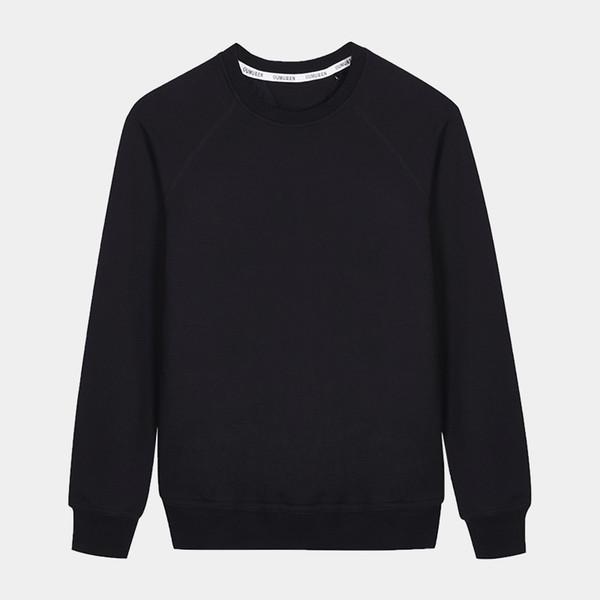 Plain Blank Basic Mens Hoodies Unisex Fleece Round Neck Pullover Outerwear Black Sweatshirt Mens Clothes RMH175002