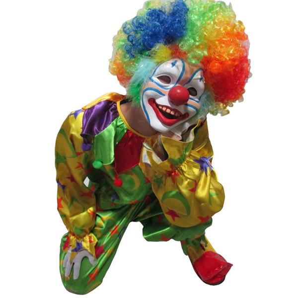 Cadılar bayramı Yapışık giysiler + Eldiven + Ayakkabı + Plasitic maske + Renk periwig Parti Cosplay Kostüm Palyaço Sihirli Giyim Suit Yetişkin Giyim