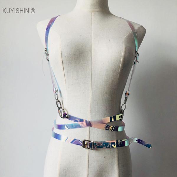 New Punk Harajuku O-ring Body Garters Vinyl PVC Leather Bondage Cage Sculpting Harness Waist Belt Straps Suspenders Belts
