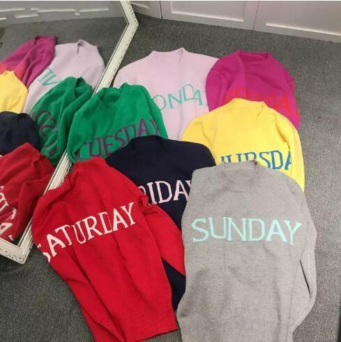 Fashion Week Damen Pullover Chic Strickpullover Montag Dienstag Mittwoch Donnerstag Freitag Samstag Sonntag Runway Pullover FS5798