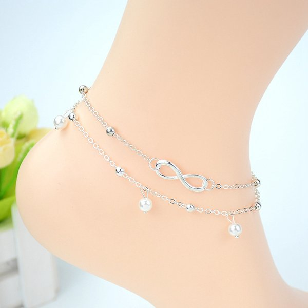 top popular Layered Silver Infinity Anklets With Classic 8 Foot Chain Pearl Barefoot Sandals Jewelry For Women Beach Pool Party Ankle Bracelet 2019