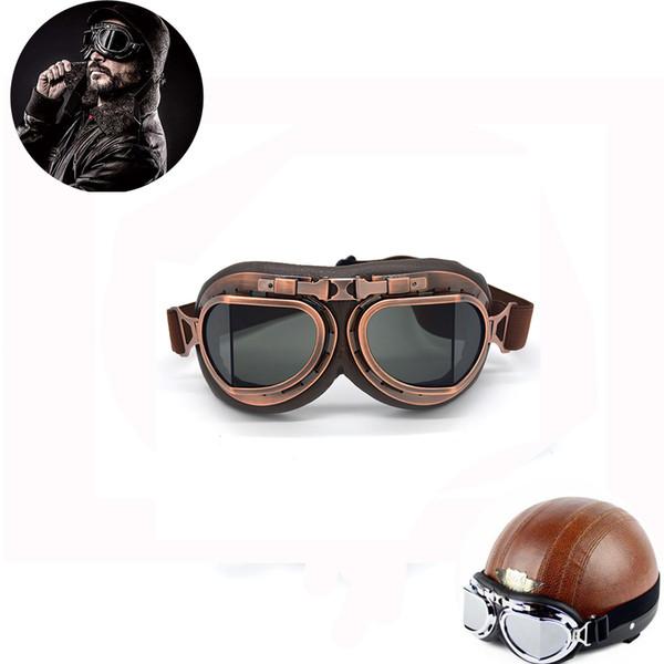 4976cf3fc3200 Óculos de proteção da motocicleta Motocross Capacete Óculos Steampunk  Segunda Guerra Mundial Retro Aviador ATV Cruiser