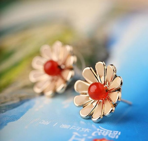 Wholesale - Retro style earrings flowers agate ear ear jewelry simple fashion Chinese style female