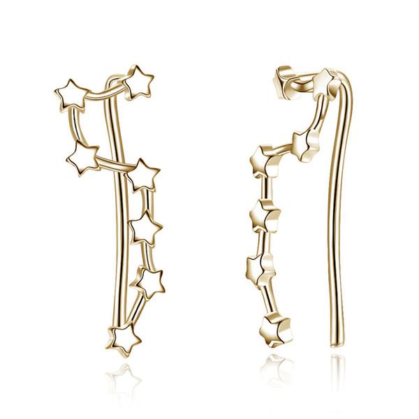 S925 placcatura semplice stella ganci per le orecchie sterling dangler eardrop orecchini in argento puro oro marca di lusso partito fidanzata regali potala012