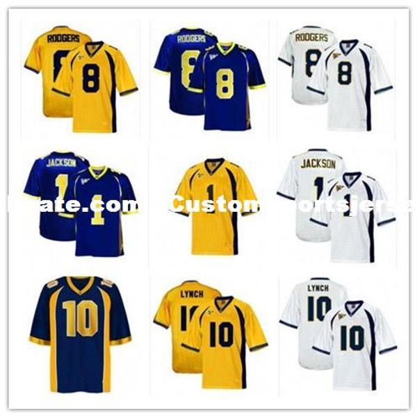 Baratos por atacado California Golden Bears Camisas de futebol 1 DeSean Jackson 8 Aaron Rodgers 10 Marshawn Lynch Ponto personalizar qualquer número de nome
