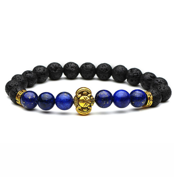 New Bangles Jewelry golden Color Alloy Elephant Head Charms 8mm Lava Black Stone Beads Bracelet For Women