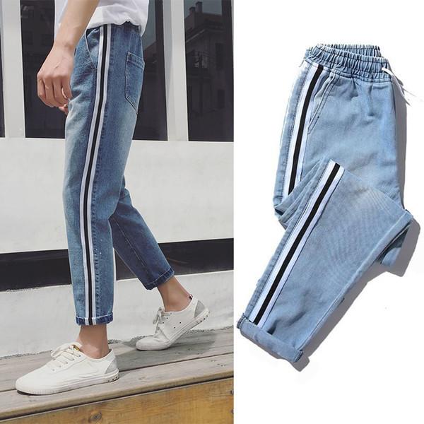 2017 Nuevos Hombres de Borde de la raya holgados blue Jeans Male Korean Student Nueve Parte de pista Pantalones Envío gratis