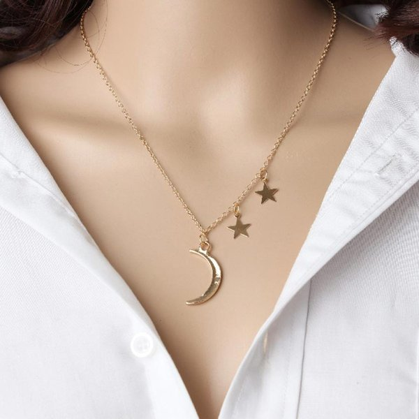 Romántico Luna de Oro Estrella Colgante Collar Fino Elegante Cadena de Clavícula Para Amantes Chicas Mujeres Collar Accesorios de Joyería