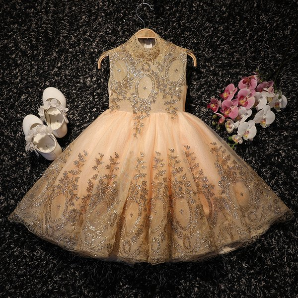 Bling Bling Gold Flower Girl Dresses For Weddings High Neck Sequined Lace Tulle 2018 New Pageant Gowns For Girls Kids Prom Dress Cheap