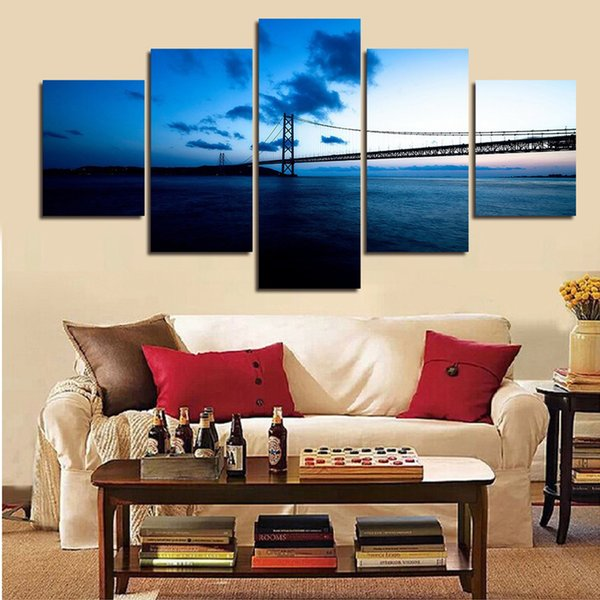 Wall Art Modular Canvas Pictures 5 Pieces Letters Love Abstract Fire Flower Painting HD Prints Poster Romantic Living Room Decor