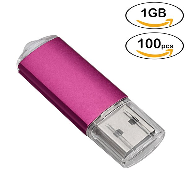 Wholesale 100pcs Rectangle USB Flash Drives 1GB Flash Pen Drive High Speed Thumb Memory Stick Storage for Computer Laptop Tablet Multicolors