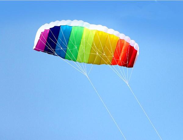 free shipping dual line 1.5m Parafoil kites flying rainbow Sports Beach stunt kite with handle ripstop nylon outdoor kitesurf