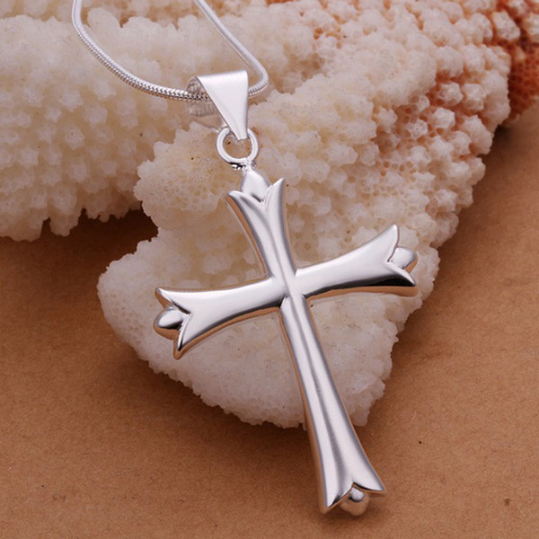XMAS Fine 925 sterling Silver Snake Chain Necklace Long Cross Pendant Link Italy, Top quality New Arrival 18inch Necklace for Men Women N290