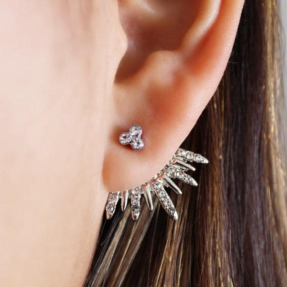 Newest Gold Ear Jackets Sparkly Spikes Sweet Beautiful Women Clip Earrings in Top Quality/ gold ear cuff / gifts for her