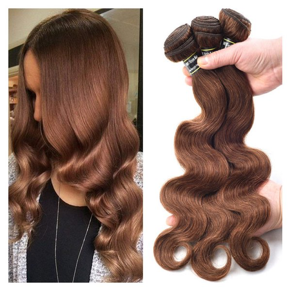 Color 4 Chocolate Brown Body Wave Hair 3 Bundles Raw Virgin Brazilian Peruvian Malaysian Indian Remy Human Hair Extensions