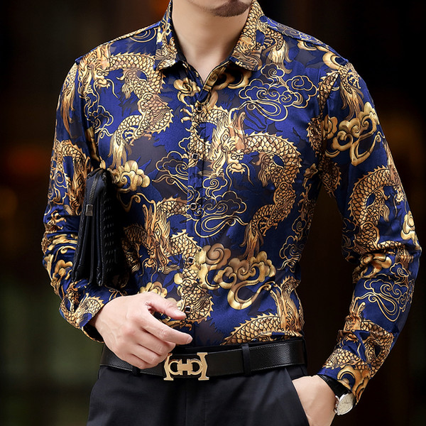 Baroque Silk Shirts Mens Dragon Dress Shirts Mens Club Outfits Black And Gold Dress Luxury Camisa Slim Fit Royal Viscose