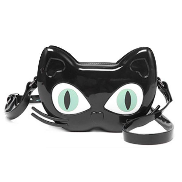 Atacado novo estilo pequeno gato saco de geléia ombro diagonal feminino saco de ombro sacos de moda PVC crianças à prova d 'água saco