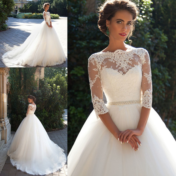 2019 Wedding Dresses Country Lace Bateau Neck A-line Half Sleeves Button Back Pearls Belt Appliques Garden Novia Bridal Gowns