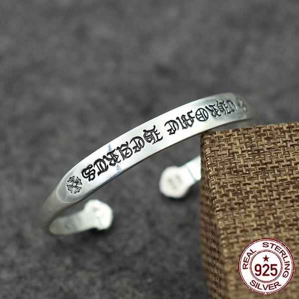 100% s925 sterling silver uomo donna braccialetto personalità moda punk gioielli semplice stile croce lettera per inviare un regalo d'amore